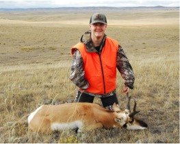 Stetson poses with his handsome pronghorn buck.